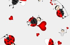 Set Of Cute Cartoon Insects Vector 03
