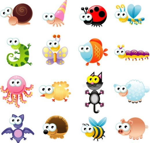 Set Of Vector Cute Cartoon Animals