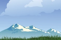 Forests and Snow-Capped Mountains Illustration Vector 01