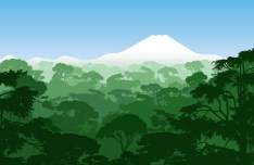 Forests and Snow-Capped Mountains Illustration Vector 02