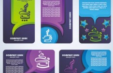 Set Of Vector Rounded Purple Business Card Design Templates