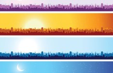 Silhouetted City Under The Sun Vector