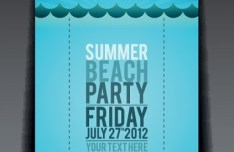 Vector Summer Beach Party Flyer Template 03