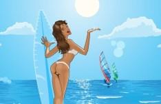Vector Summer Sun Beach 01