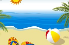 Vector Summer Sun Beach 04