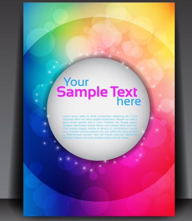 Fantastic Magazine Flyer Template with Colorful Abstract Background Vector 01