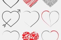 Set Of Vector Heart Designs (EPS+AI)