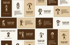 Set Of Vector Brown Cartoon Student Cards