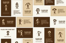 Set Of Vector Brown Cartoon Student Cards