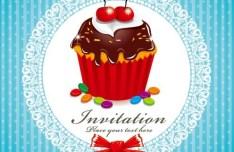 Sweet Floral and Dessert Invitation Card Design Vector 01