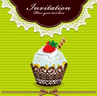 Sweet Floral and Dessert Invitation Card Design Vector 02