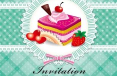 Sweet Floral and Dessert Invitation Card Design Vector 03