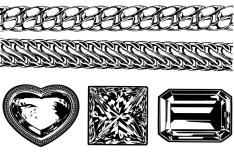 Black and White Jewellery Ornaments Vector