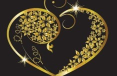 Vector Gold Heart Pendants For Valentine's Day 01