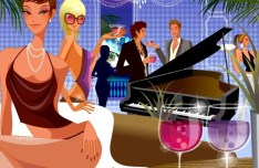 Vector Young People In A Cocktail Party Illustration