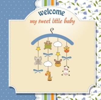 Elegant Cute Cartoon Baby Card Cover Vector 04