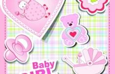 Pink Baby Girl Design Elements Vector