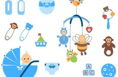 Set Of Vector Baby Item Icons