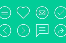 Simple Flat Line Icons Set PSD
