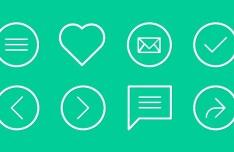 Simple Flat Line Icons Set PSD