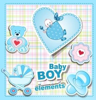 Sky Blue Baby Boy Design Elements Vector