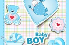 Sky Blue Baby Boy Design Elements Vector