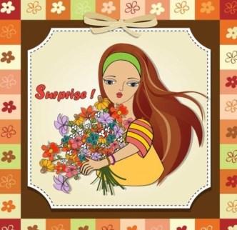 Sweet Little Girl Card Cover Design Vector 04