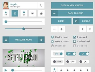 Blue and White Flat Mobile UI Kit PSD