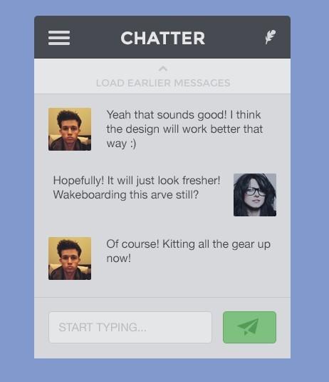 Flat Chatter App UI PSD