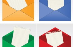 4 Colorful Vector Envelope Icons