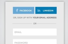 Simple Sign In With Facebook and Linkedin Form PSD