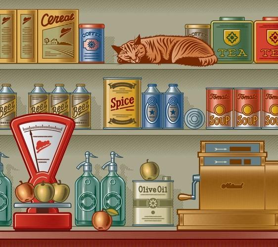 Vector Retro Grocery Store Design Elements 01