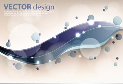 Abstract Technology Circles and Curved Lines Background Vector 02