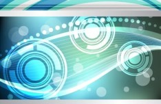 Abstract Technology Circles and Curved Lines Background Vector 03