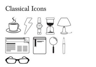Simple Classical Outline Icons Vector