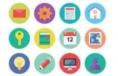 Flat Designed Round Icons Set PSD