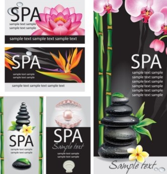 Natural Body Spa Business Card and Banner Designs Vector 02