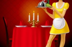 Restaurant Waitress Illustration Vector