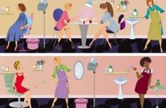 Vector Beauty Salon Workers Illustration 01