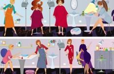 Vector Beauty Salon Workers Illustration 03