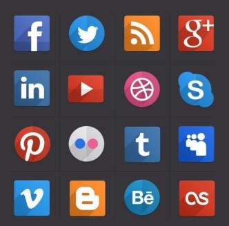 16 Social Flat Icons PSD