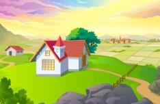 Cartoon Village Landscape Vector