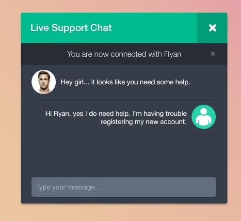 Dark Live Support Chat Widget PSD