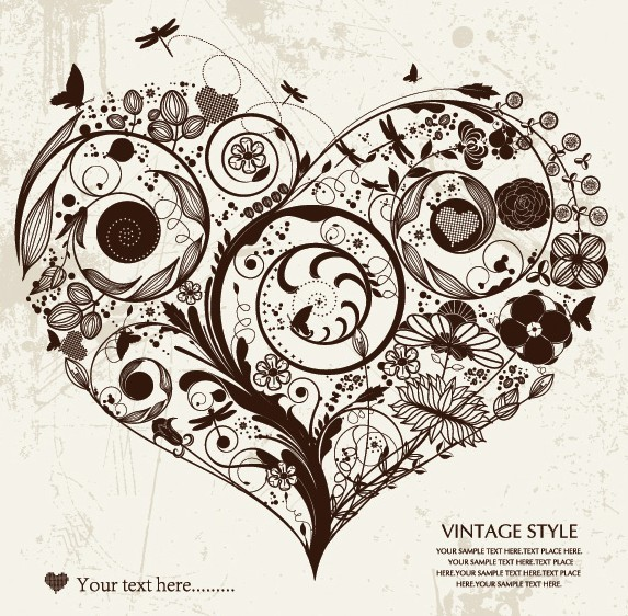 Vintage Style Floral Ornamental Love Heart Vector 02