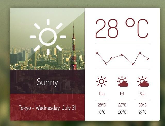 Elegant Weather Dashboard PSD