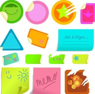 Set Of Vector Cartoon Sticky Notes For Kids 04