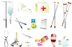 Set Of Vector Clean Medical Supplies Icon Set