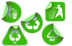 Set of Green Recycling Concept Stickers Vector 01