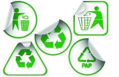 Set of Green Recycling Concept Stickers Vector 02