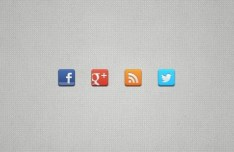 4 Minimal Rounded Social Icons PSD